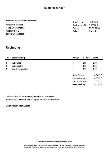 pdf rechnungen kostenlos online erstellen. Black Bedroom Furniture Sets. Home Design Ideas